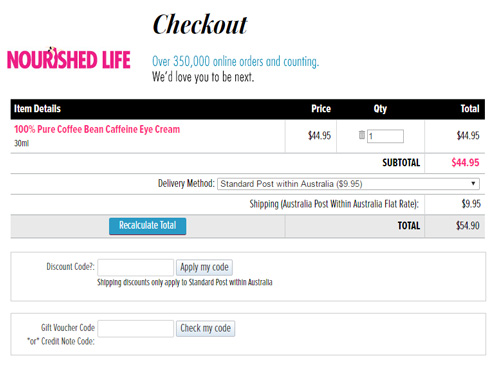 Nourished Life checkout