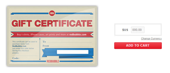 RedBubble gift certificate