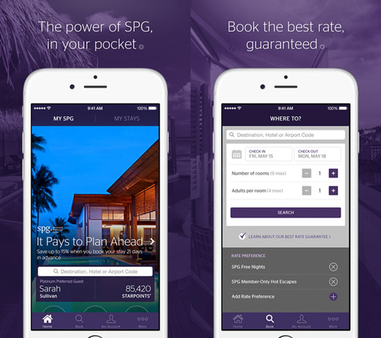 Starwood Hotels mobile app