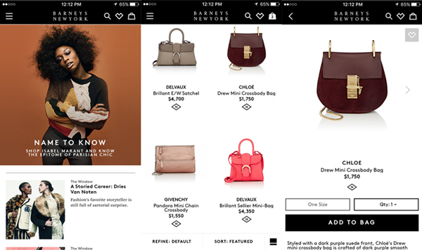 Barneys New York mobile app