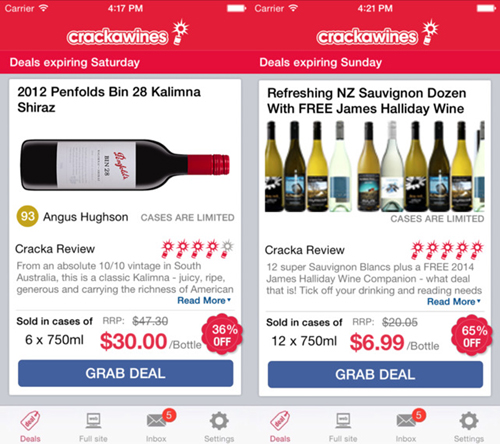 Cracka Wines mobile app