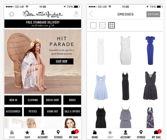 Miss Selfridge mobile app