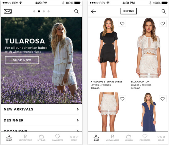 Revolve Clothing mobile app