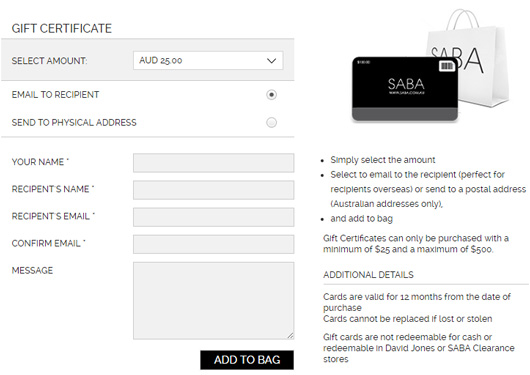 Saba GiftCard