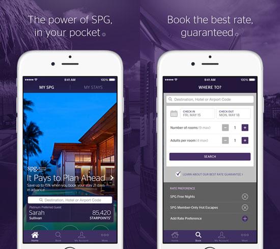 Starwood Hotels mobile app
