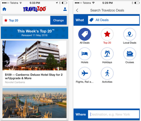 Travelzoo mobile app