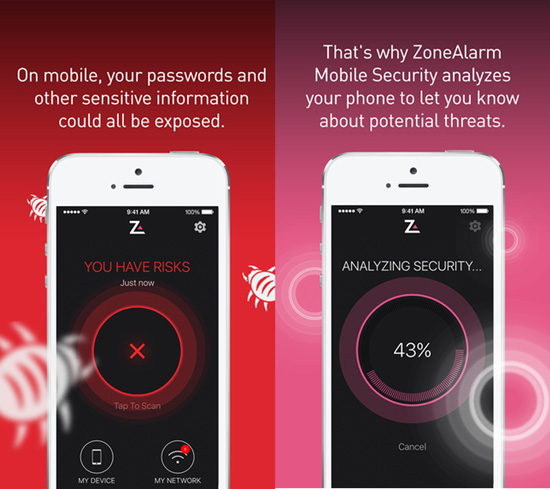 ZoneAlarm mobile app